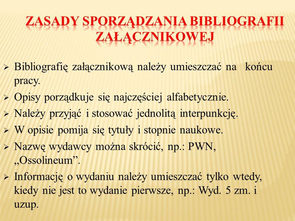 Zasady sporządzania bibliografii załącznikowej