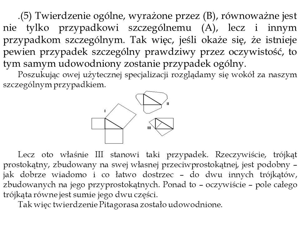 .(5) Twierdzenie ogólne, wyrażone przez (B), równoważne jest nie tylko przypadkowi szczególnemu (A), lecz i innym przypadkom szczególnym. Tak więc, jeśli okaże się, że istnieje pewien przypadek szczególny prawdziwy przez oczywistość, to tym samym udowodniony zostanie przypadek ogólny.