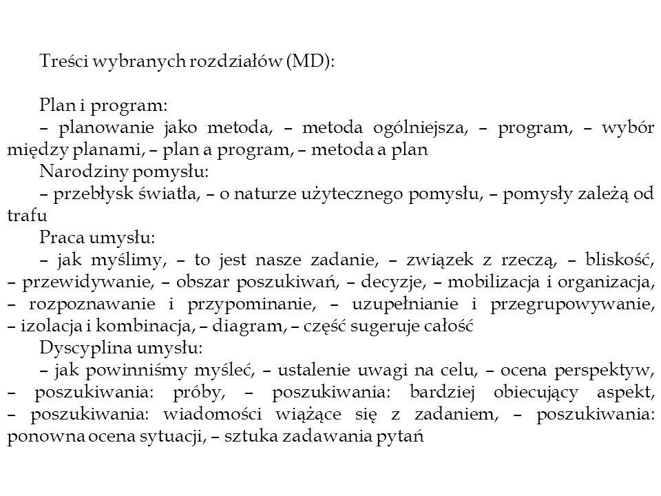 Treści wybranych rozdziałów (MD):