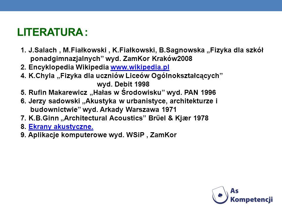 """Literatura : 1. J.Salach , M.Fiałkowski , K.Fiałkowski, B.Sagnowska """"Fizyka dla szkół. ponadgimnazjalnych wyd. ZamKor Kraków2008."""