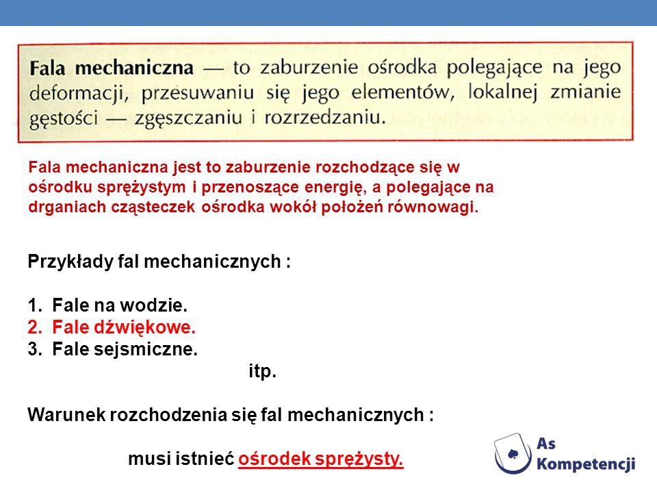 Przykłady fal mechanicznych : Fale na wodzie. Fale dźwiękowe.