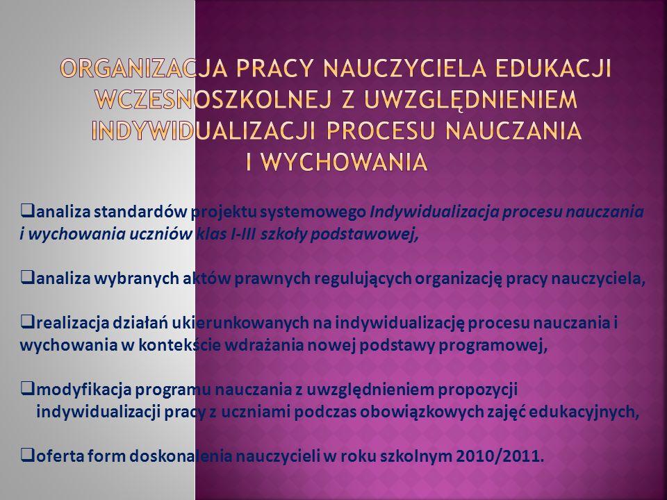 Organizacja pracy nauczyciela edukacji wczesnoszkolnej z uwzględnieniem indywidualizacji procesu nauczania i wychowania