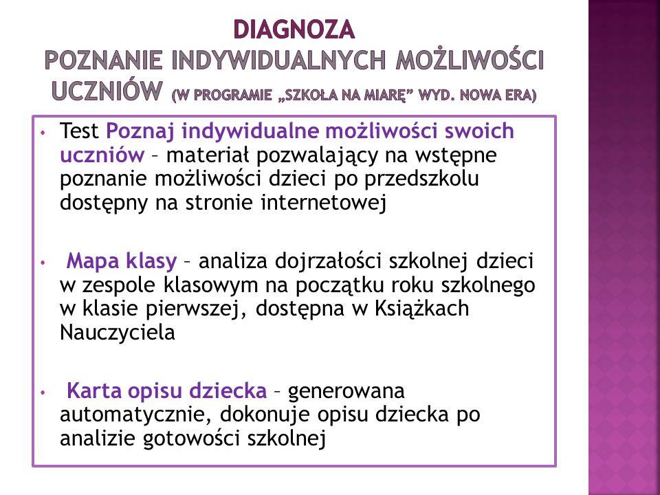 """Diagnoza Poznanie indywidualnych możliwości uczniów (w programie """"Szkoła na Miarę wyd. Nowa era)"""