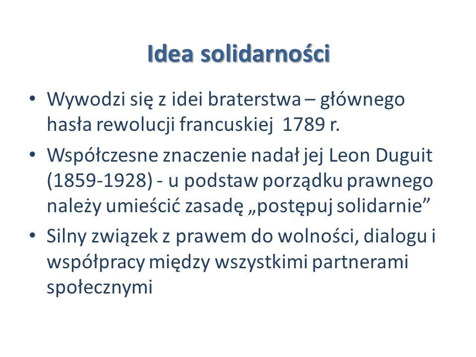 Idea solidarności Wywodzi się z idei braterstwa – głównego hasła rewolucji francuskiej 1789 r.