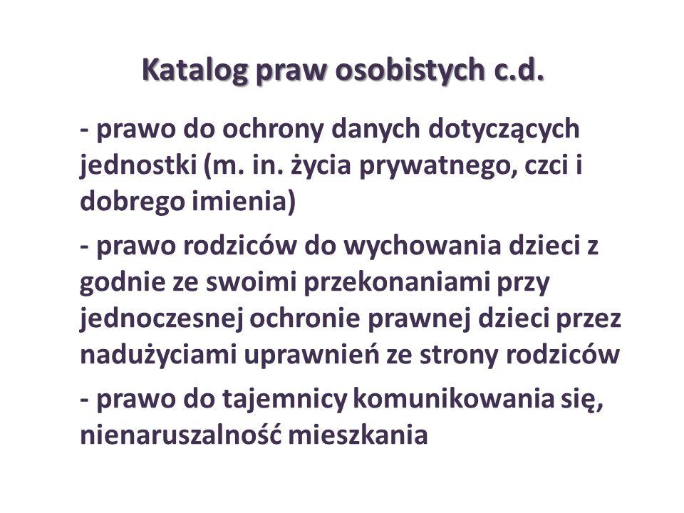 Katalog praw osobistych c.d.