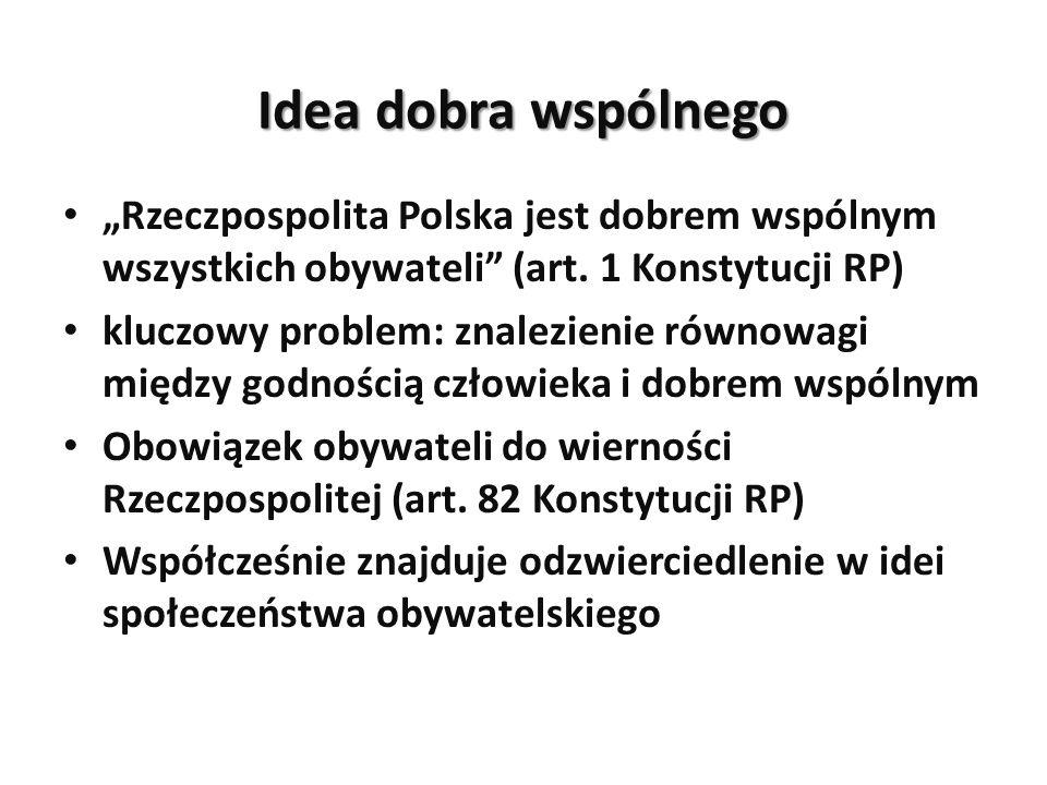 """Idea dobra wspólnego """"Rzeczpospolita Polska jest dobrem wspólnym wszystkich obywateli (art. 1 Konstytucji RP)"""