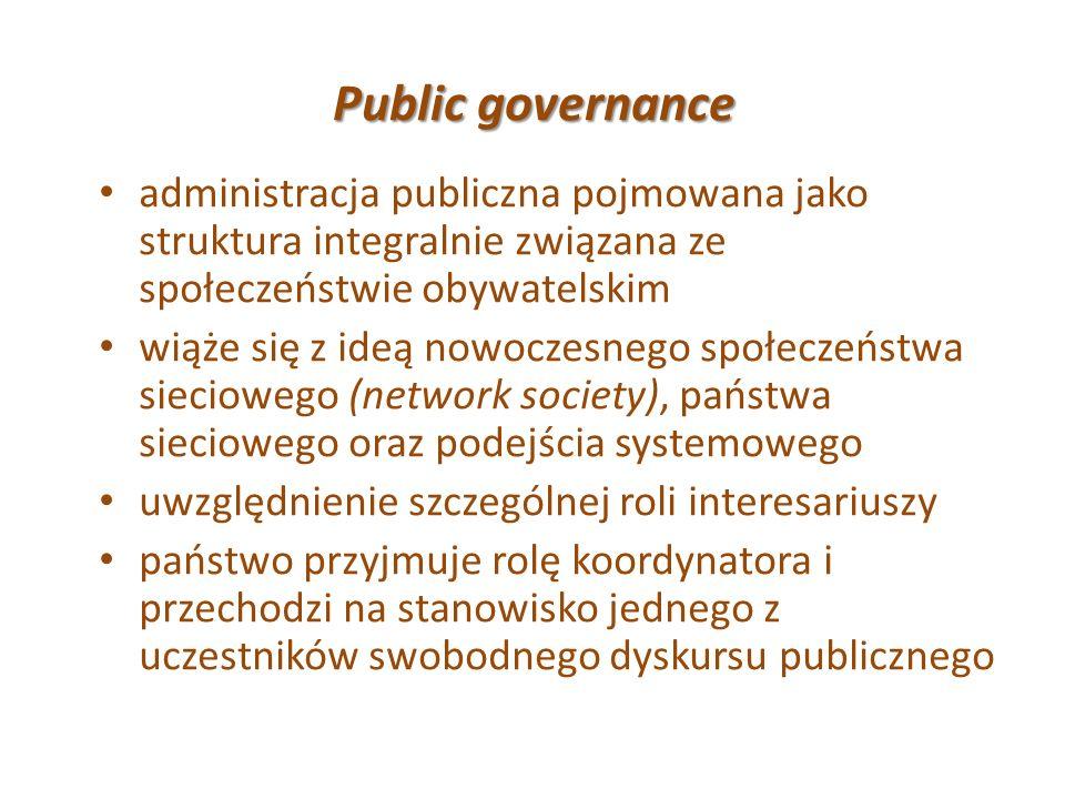 Public governance administracja publiczna pojmowana jako struktura integralnie związana ze społeczeństwie obywatelskim.