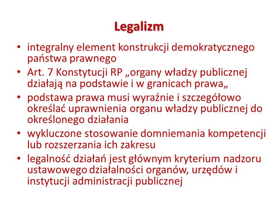 Legalizm integralny element konstrukcji demokratycznego państwa prawnego.