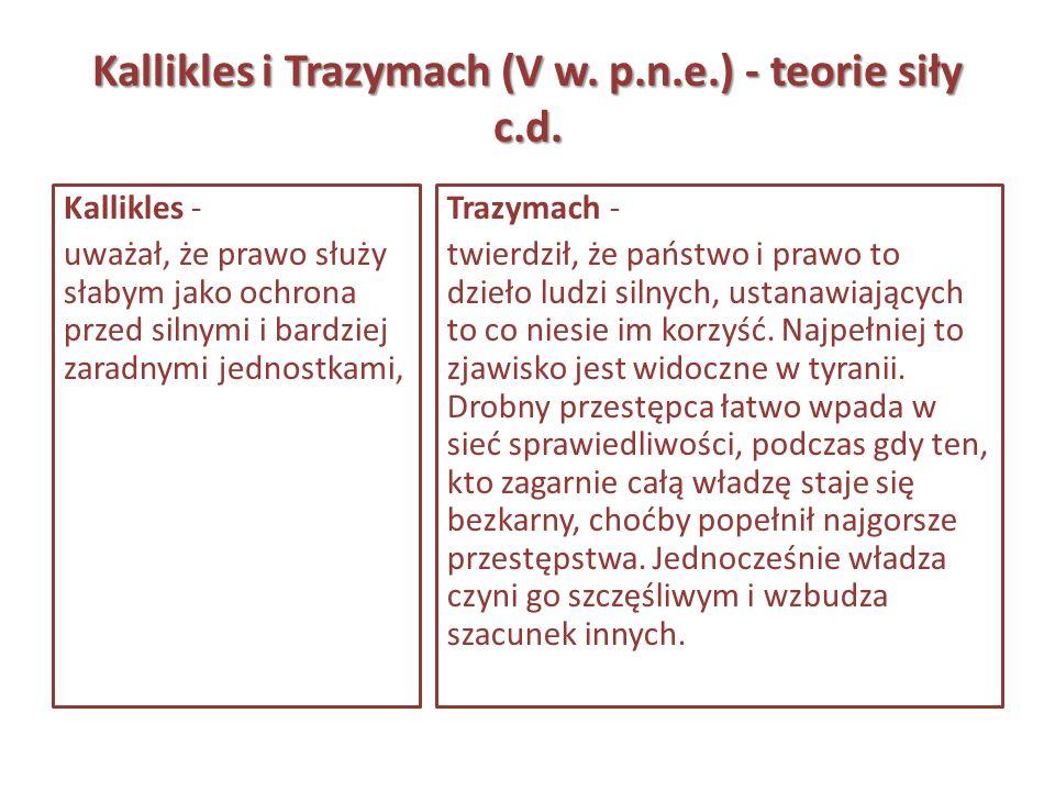 Kallikles i Trazymach (V w. p.n.e.) - teorie siły c.d.