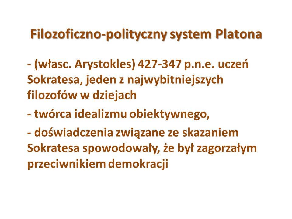 Filozoficzno-polityczny system Platona