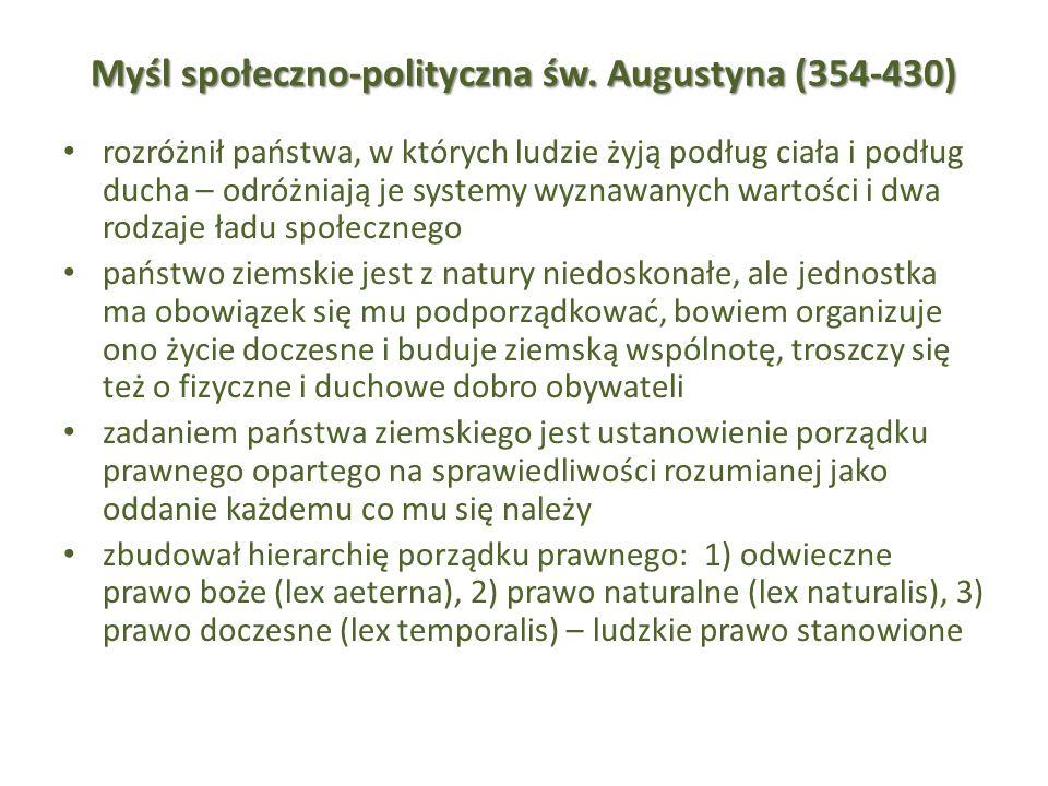 Myśl społeczno-polityczna św. Augustyna (354-430)
