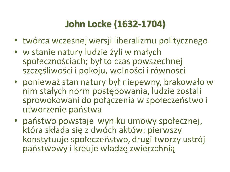John Locke (1632-1704) twórca wczesnej wersji liberalizmu politycznego