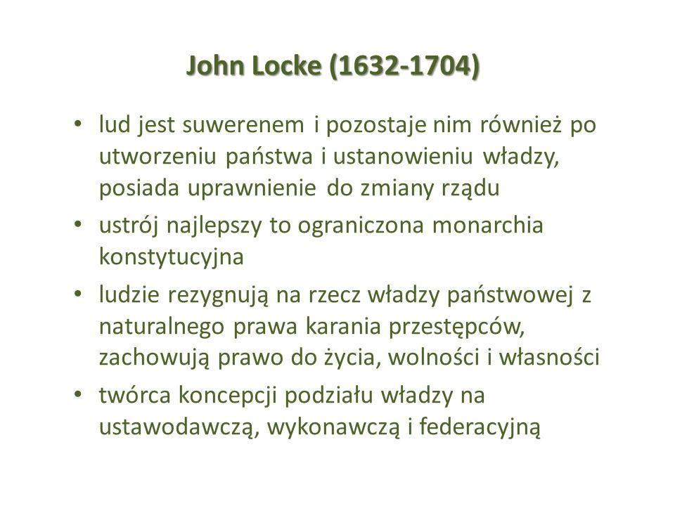 John Locke (1632-1704) lud jest suwerenem i pozostaje nim również po utworzeniu państwa i ustanowieniu władzy, posiada uprawnienie do zmiany rządu.