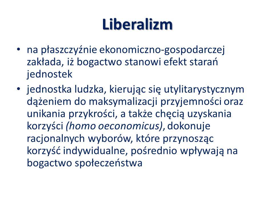 Liberalizm na płaszczyźnie ekonomiczno-gospodarczej zakłada, iż bogactwo stanowi efekt starań jednostek.