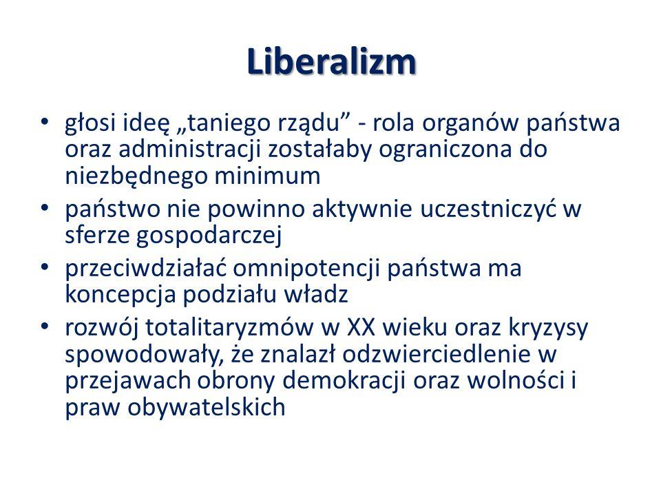 """Liberalizm głosi ideę """"taniego rządu - rola organów państwa oraz administracji zostałaby ograniczona do niezbędnego minimum."""