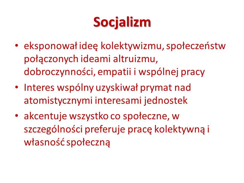 Socjalizm eksponował ideę kolektywizmu, społeczeństw połączonych ideami altruizmu, dobroczynności, empatii i wspólnej pracy.