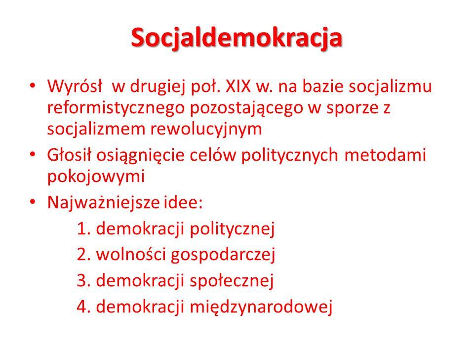 Socjaldemokracja Wyrósł w drugiej poł. XIX w. na bazie socjalizmu reformistycznego pozostającego w sporze z socjalizmem rewolucyjnym.