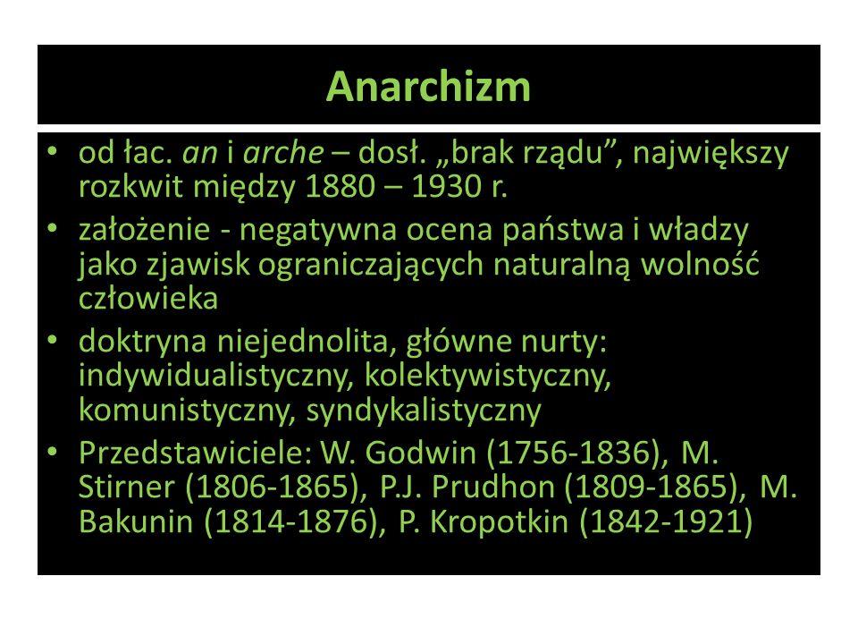"""Anarchizm od łac. an i arche – dosł. """"brak rządu , największy rozkwit między 1880 – 1930 r."""