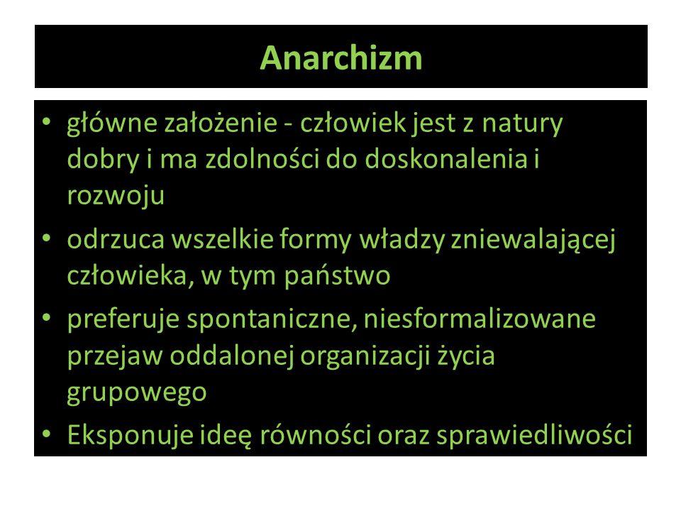 Anarchizm główne założenie - człowiek jest z natury dobry i ma zdolności do doskonalenia i rozwoju.