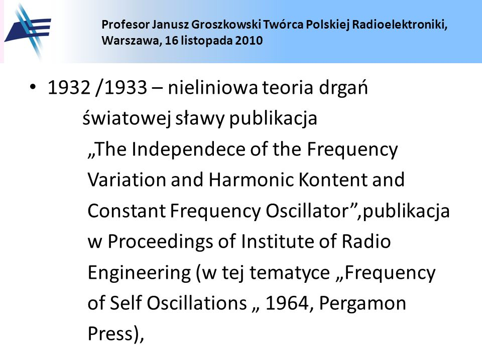 1932 /1933 – nieliniowa teoria drgań