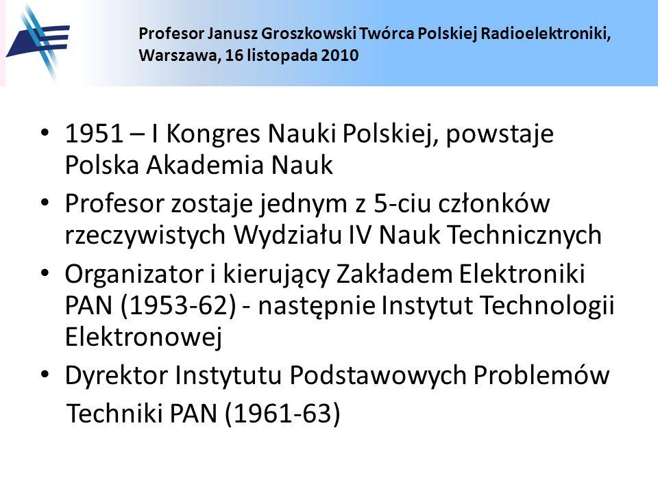 1951 – I Kongres Nauki Polskiej, powstaje Polska Akademia Nauk