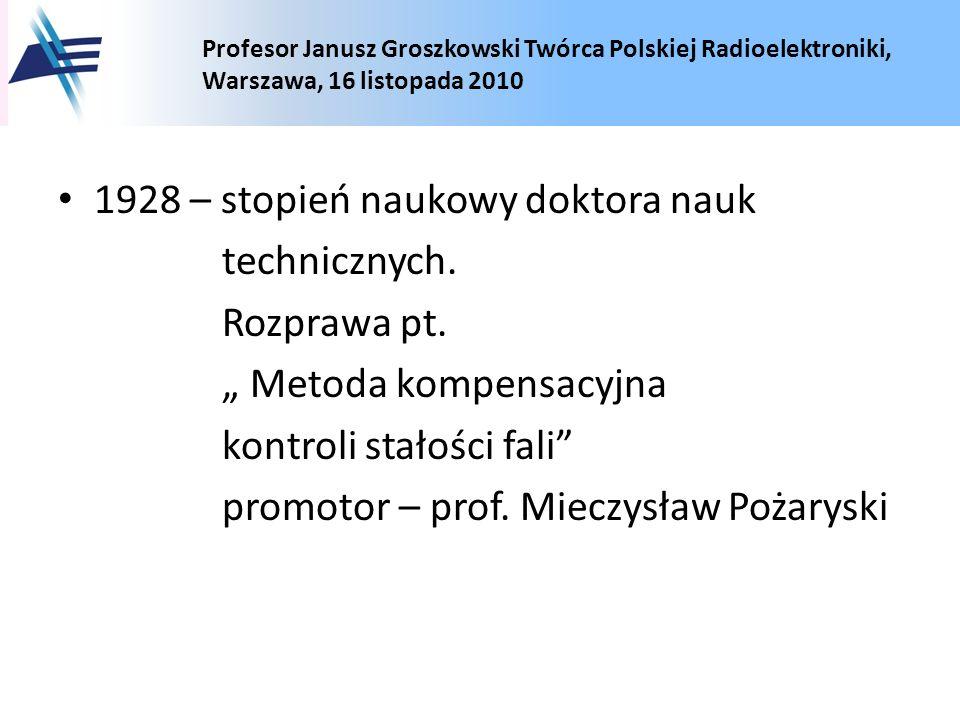 1928 – stopień naukowy doktora nauk