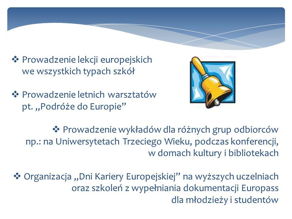 Prowadzenie lekcji europejskich we wszystkich typach szkół