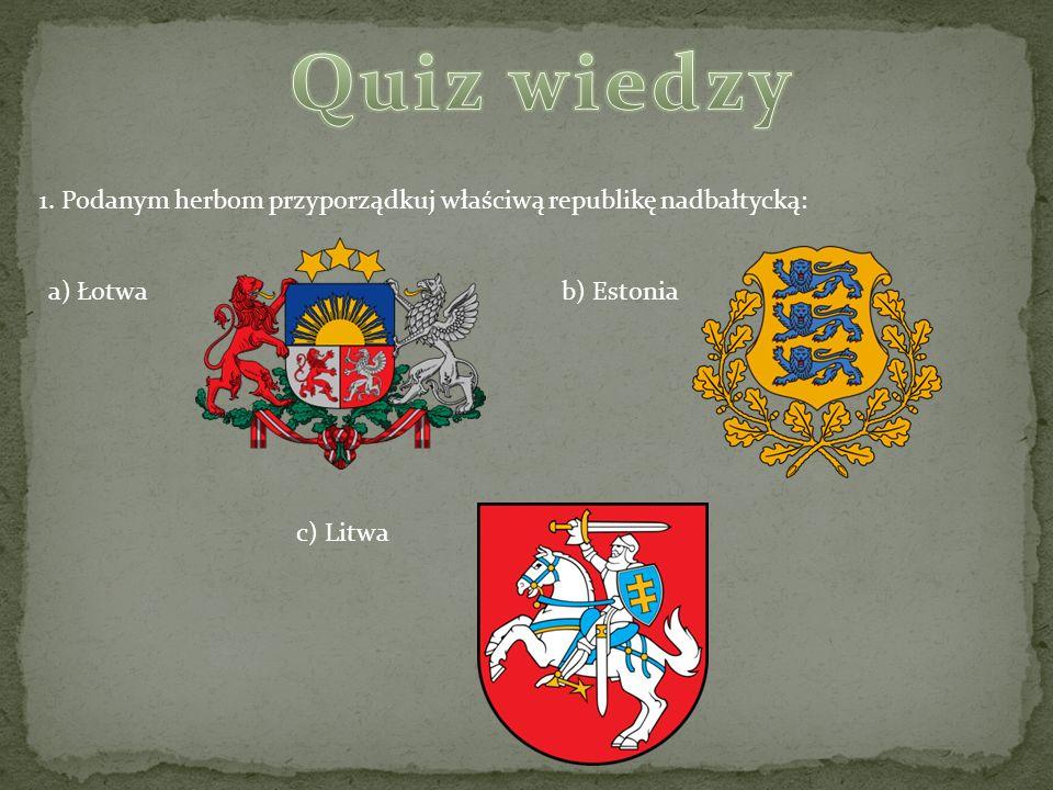 Quiz wiedzy 1. Podanym herbom przyporządkuj właściwą republikę nadbałtycką: a) Łotwa. b) Estonia.
