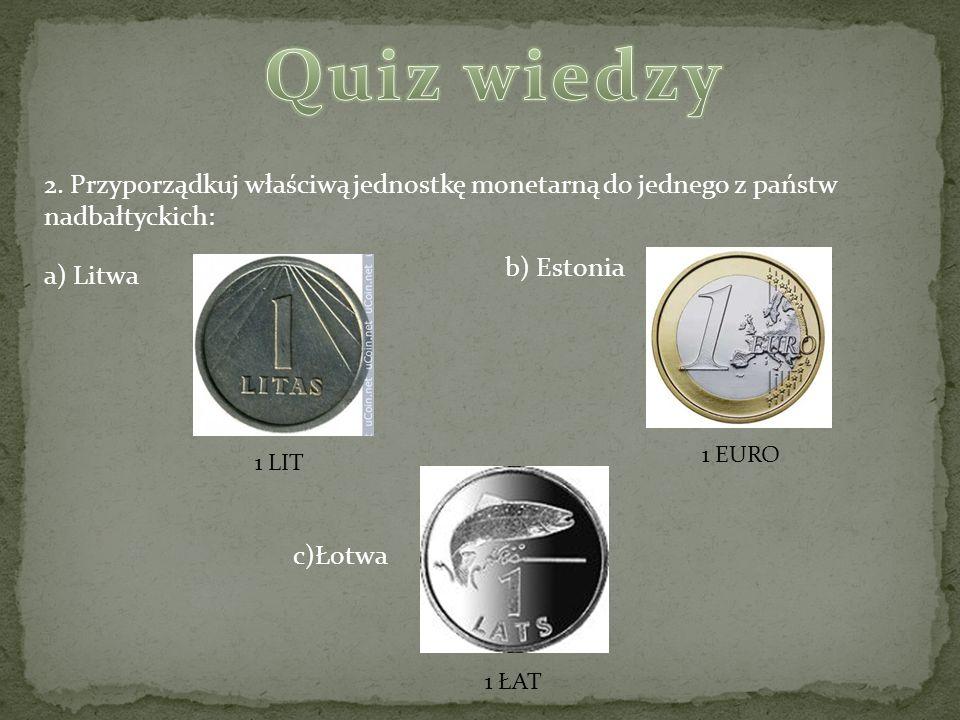 Quiz wiedzy 2. Przyporządkuj właściwą jednostkę monetarną do jednego z państw nadbałtyckich: b) Estonia.