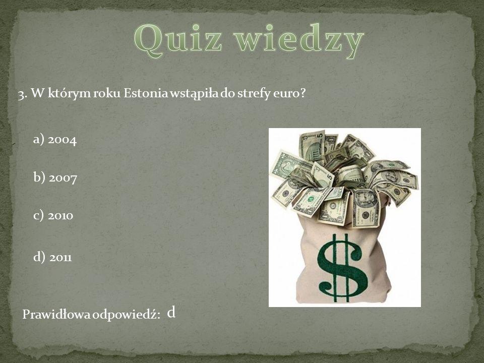Quiz wiedzy d 3. W którym roku Estonia wstąpiła do strefy euro
