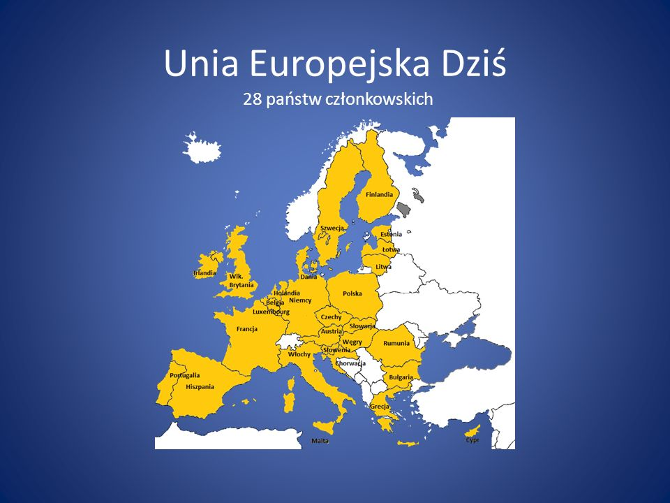 Unia Europejska Dziś 28 państw członkowskich