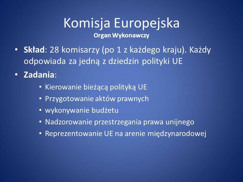 Komisja Europejska Organ Wykonawczy. Skład: 28 komisarzy (po 1 z każdego kraju). Każdy odpowiada za jedną z dziedzin polityki UE.