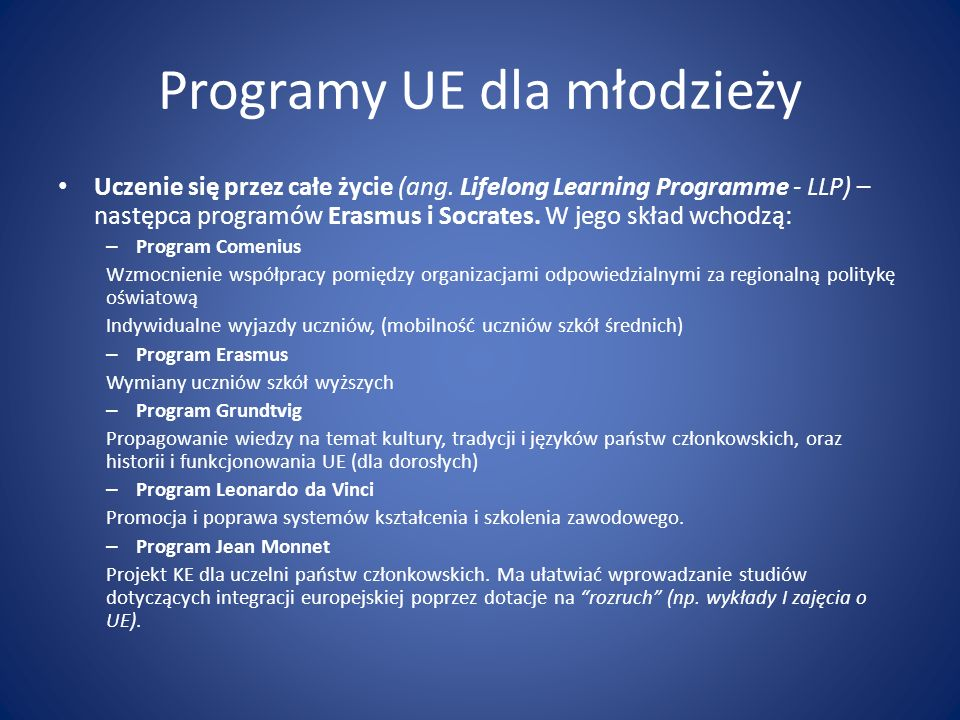 Programy UE dla młodzieży