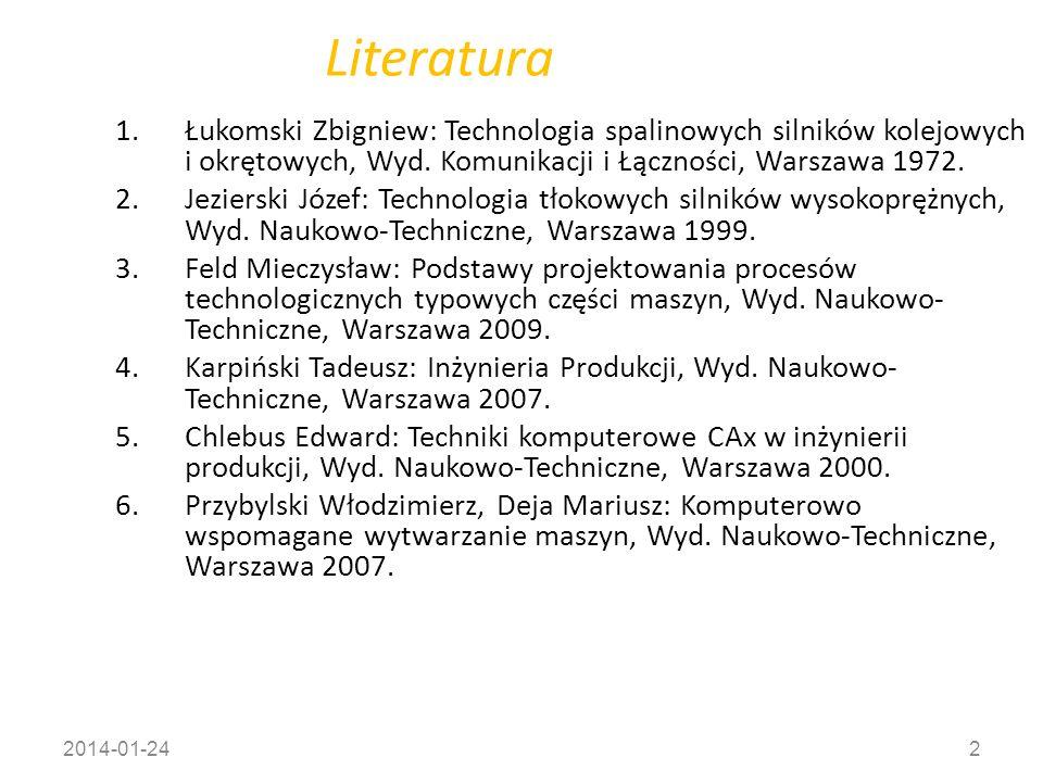 Literatura Łukomski Zbigniew: Technologia spalinowych silników kolejowych i okrętowych, Wyd. Komunikacji i Łączności, Warszawa 1972.