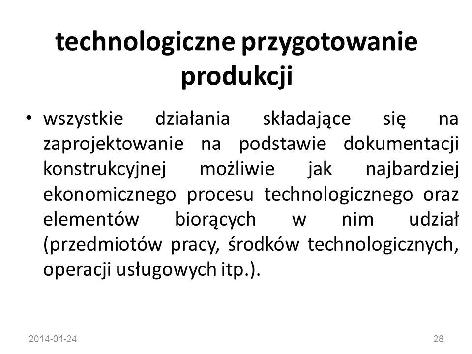 technologiczne przygotowanie produkcji