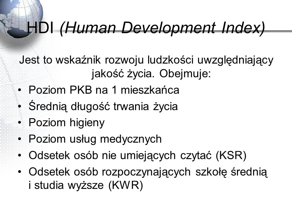 HDI (Human Development Index)