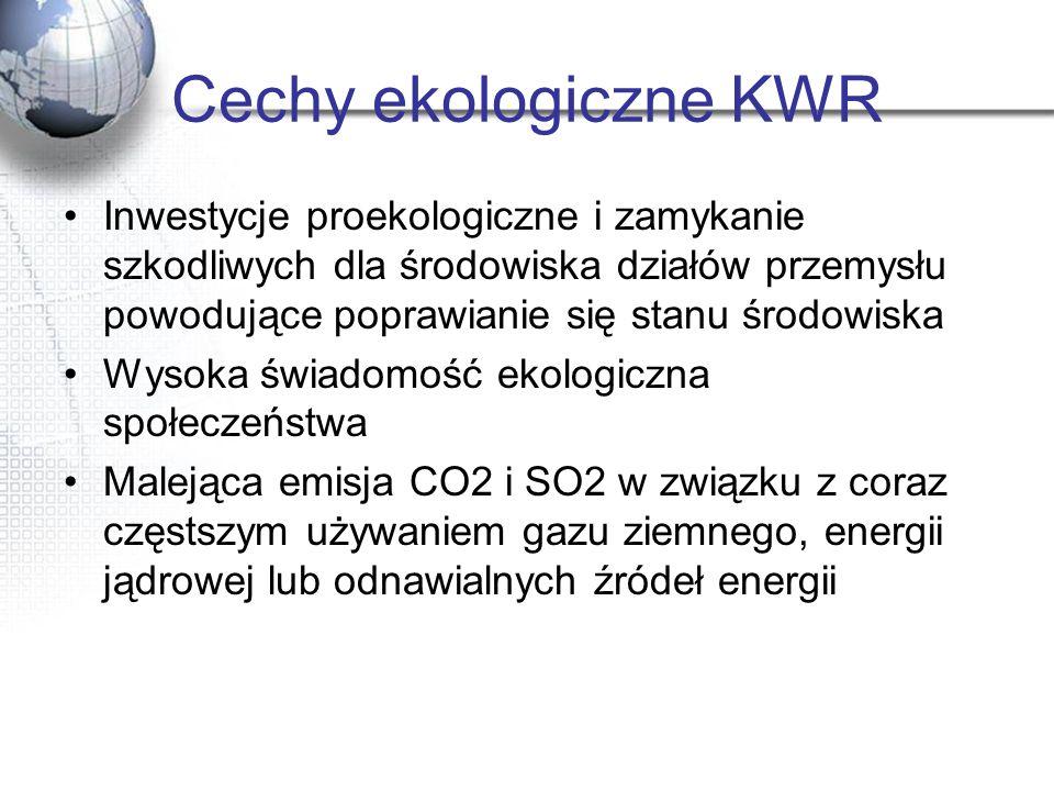 Cechy ekologiczne KWR Inwestycje proekologiczne i zamykanie szkodliwych dla środowiska działów przemysłu powodujące poprawianie się stanu środowiska.