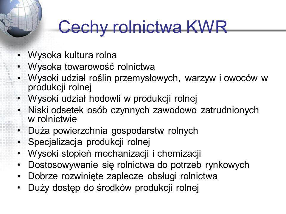 Cechy rolnictwa KWR Wysoka kultura rolna Wysoka towarowość rolnictwa