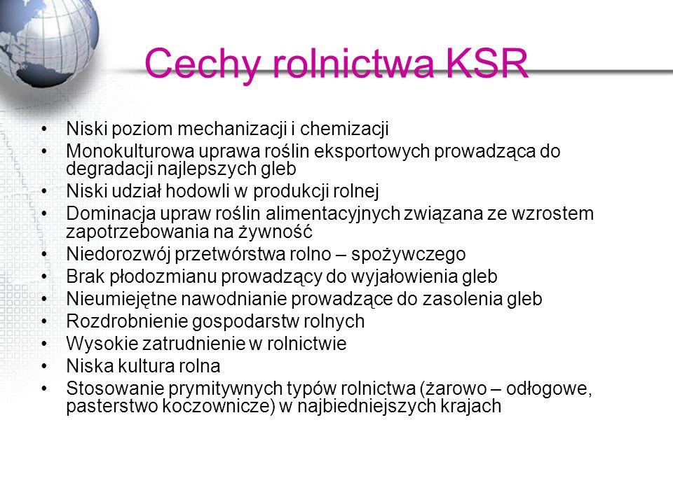 Cechy rolnictwa KSR Niski poziom mechanizacji i chemizacji
