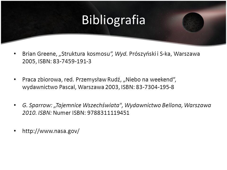 """Bibliografia Brian Greene, """"Struktura kosmosu , Wyd. Prószyński i S-ka, Warszawa 2005, ISBN: 83-7459-191-3."""