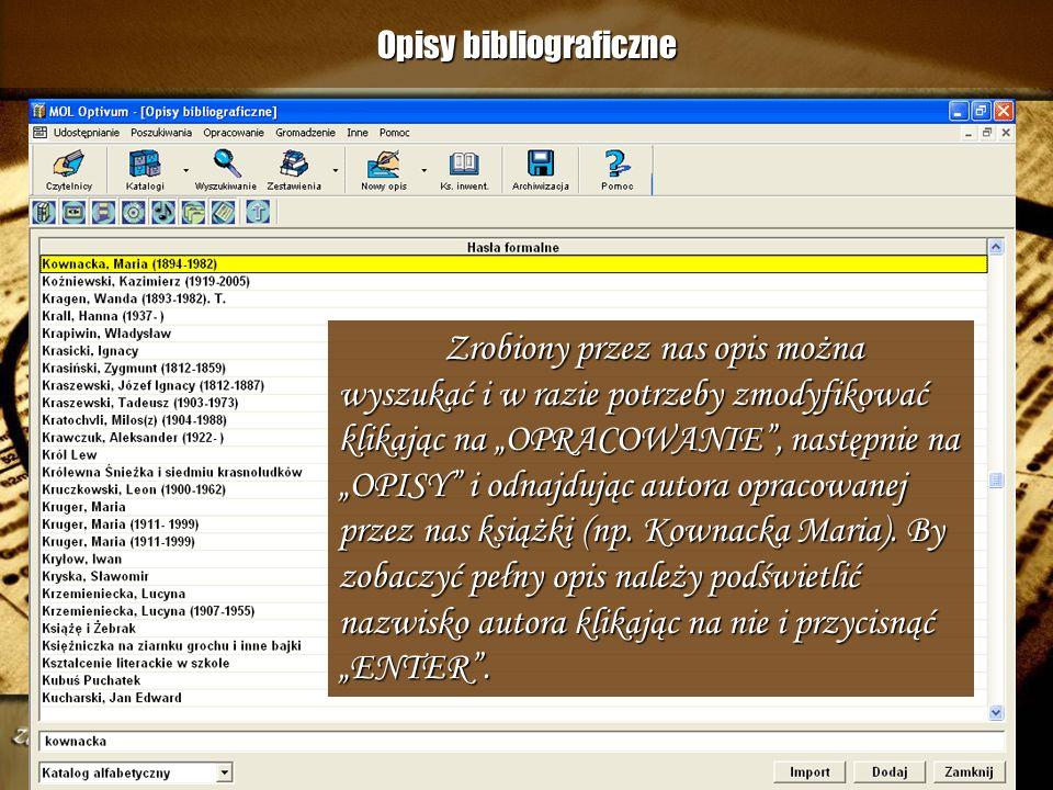 Opisy bibliograficzne