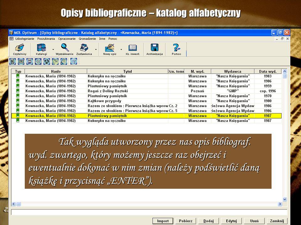 Opisy bibliograficzne – katalog alfabetyczny