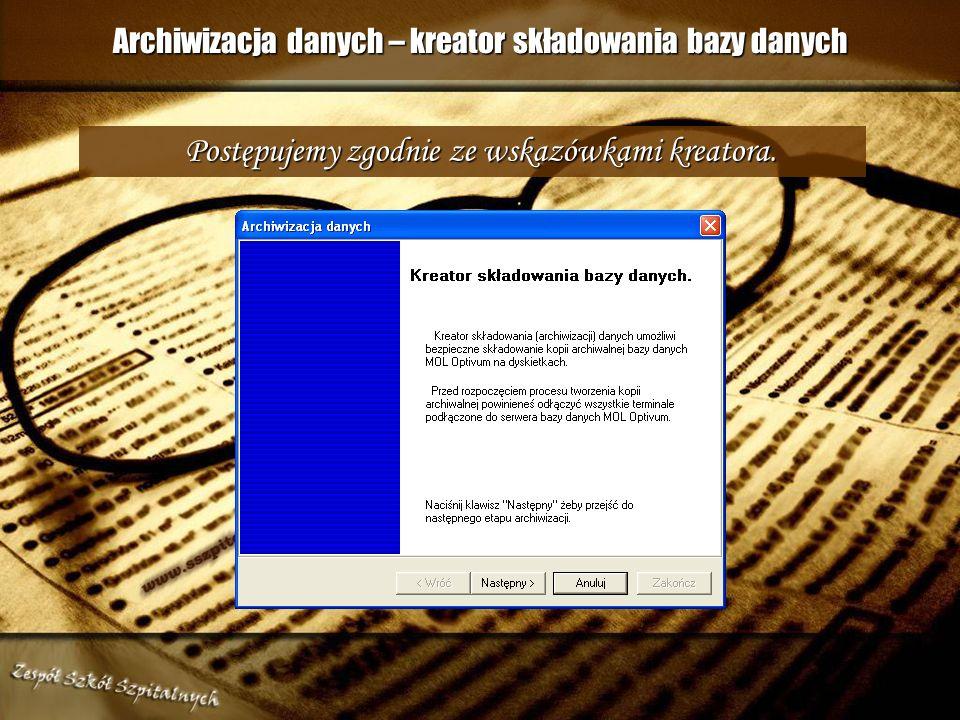 Archiwizacja danych – kreator składowania bazy danych