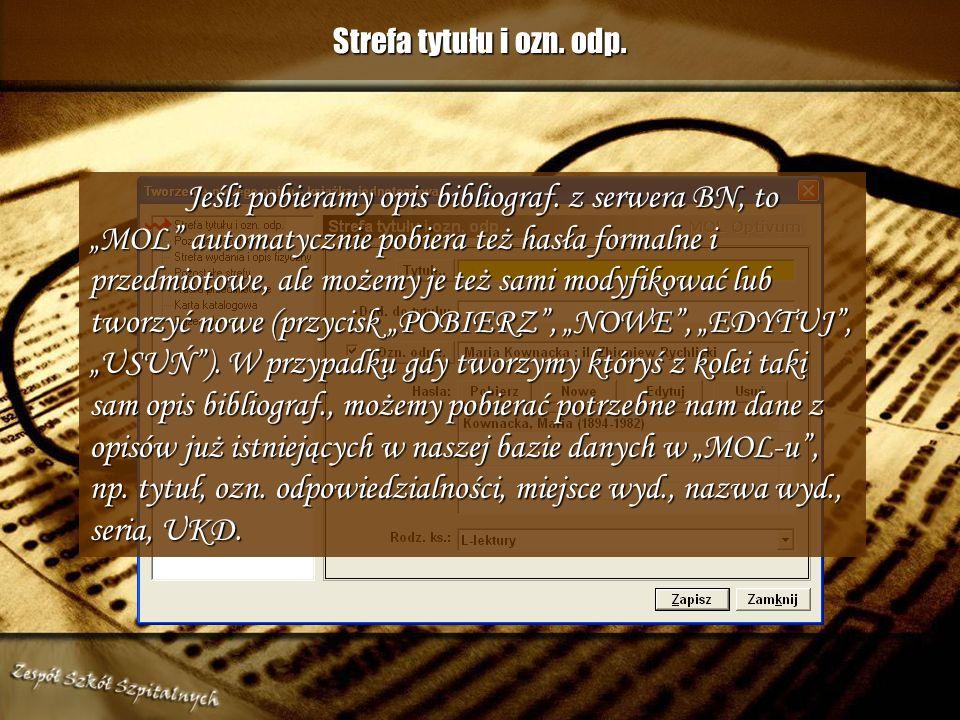 Strefa tytułu i ozn. odp.