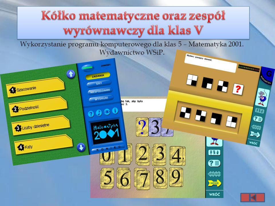 Kółko matematyczne oraz zespół wyrównawczy dla klas V