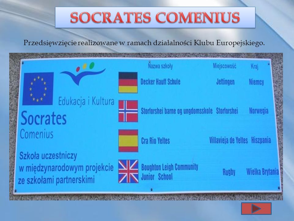 SOCRATES COMENIUS Przedsięwzięcie realizowane w ramach działalności Klubu Europejskiego.