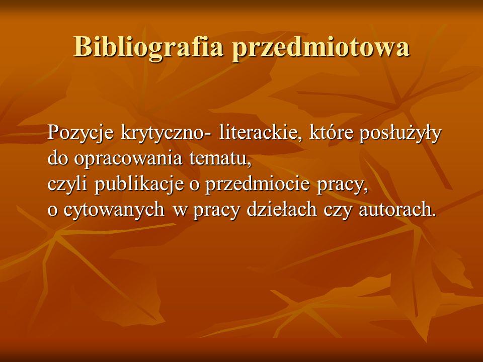 Bibliografia przedmiotowa