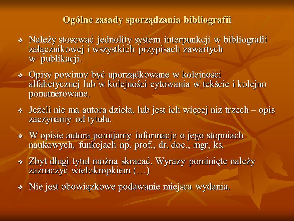 Ogólne zasady sporządzania bibliografii