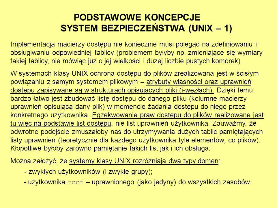 SYSTEM BEZPIECZEŃSTWA (UNIX – 1)
