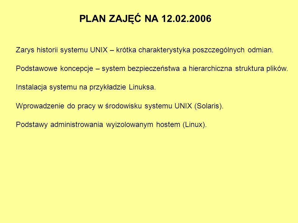 PLAN ZAJĘĆ NA 12.02.2006 Zarys historii systemu UNIX – krótka charakterystyka poszczególnych odmian.